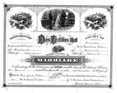 Magdalena Allan (Allen) marriage to Donald McVicar, Morris, IL 1882