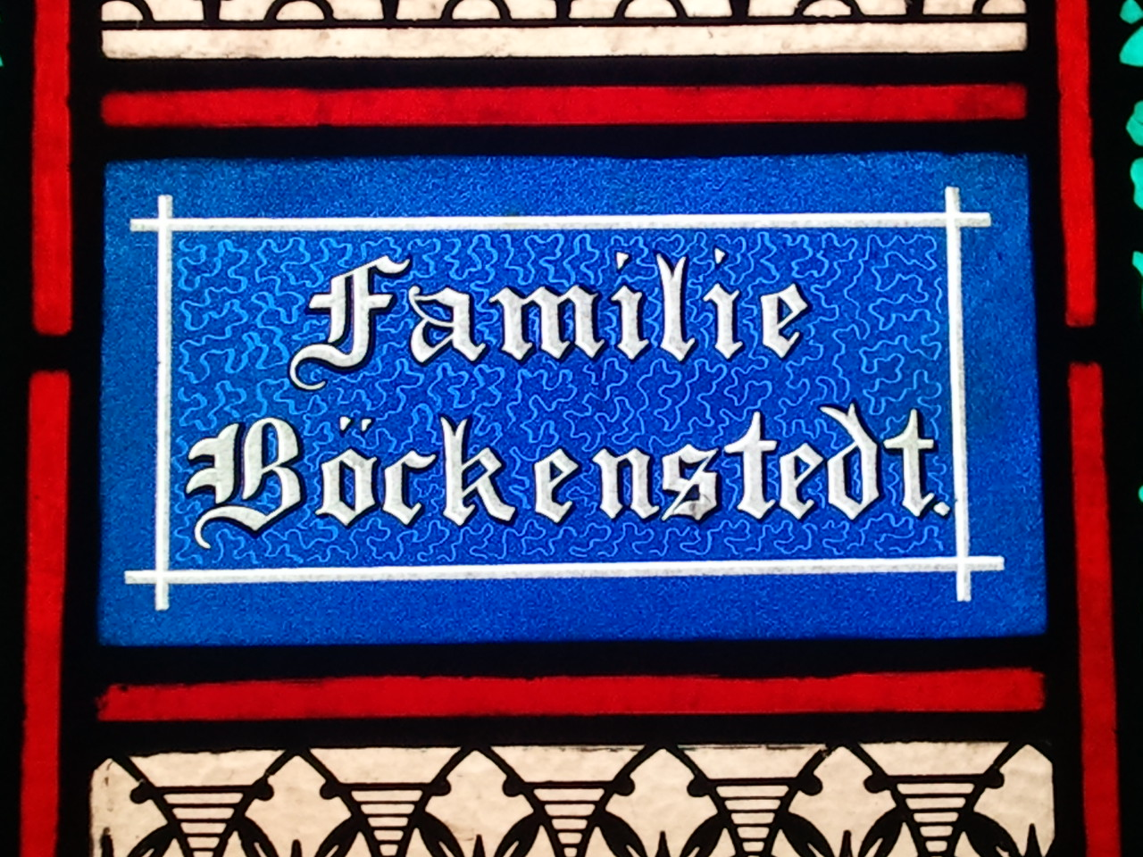 A closeup of the Böckenstedt Family window in St. Boniface Church, New Vienna, IA.