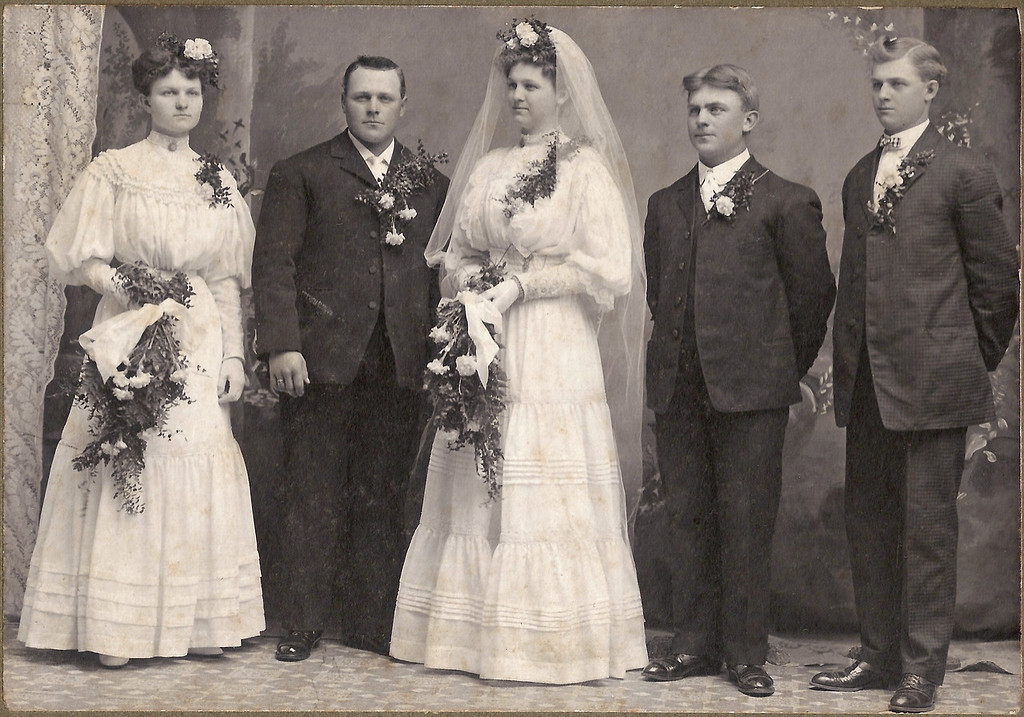 """April 9, 1907 Wedding Portrait of Agnes Beckman and Anton Boeckenstedt.  Attended by Maime Beckman Boeckenstedt (sister of the bride) and John """"Pinoak"""" Boeckenstedt, brother of the groom.  Usher is Charles Beckman."""