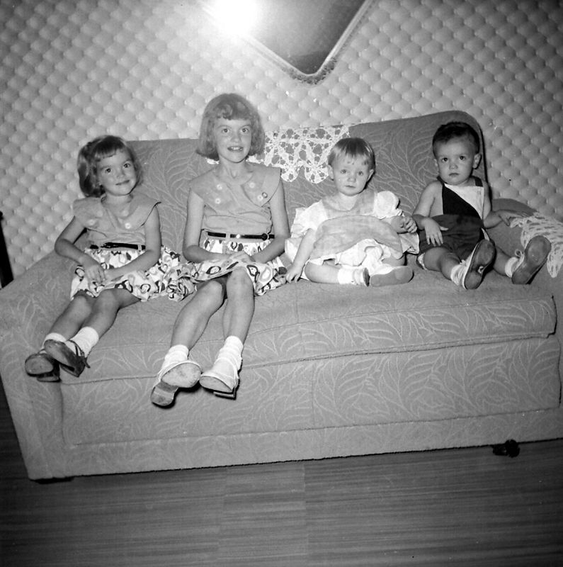 Joyce and Judy Dugan, Jana Clark and Mike Glines ca summer 1955