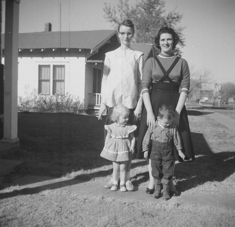 Lois Clark, Phylis (or Barbara) Glines with Jana Clark and Mike Glines ca. 1956