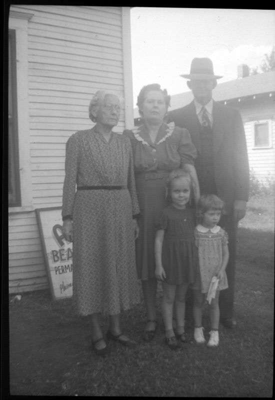 L to R:  unknown, Allene, Harry with children Mary Lee and Virginia.