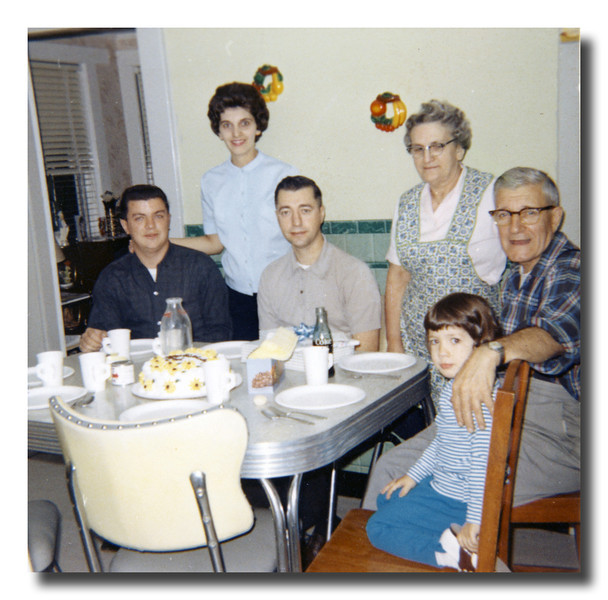 It's somebody's birthday. Roger & Patricia (Hall) Martineau, Raymond Asselin, Rose (Couture) & Wilfred Hall & Susan Martineau, 1965.