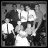 """????""<br /> I don't know what the ""Grown-ups"" were supposed to be in this photo on Christmas day 1963 ain Uncle Cliff's cellar.<br /> (Rear, l-r); Wilfred (Jr), Richard (Nick), Robert & Lucien Hall.<br /> (Front, l-r); Kevin, Michael & Guy Hall."