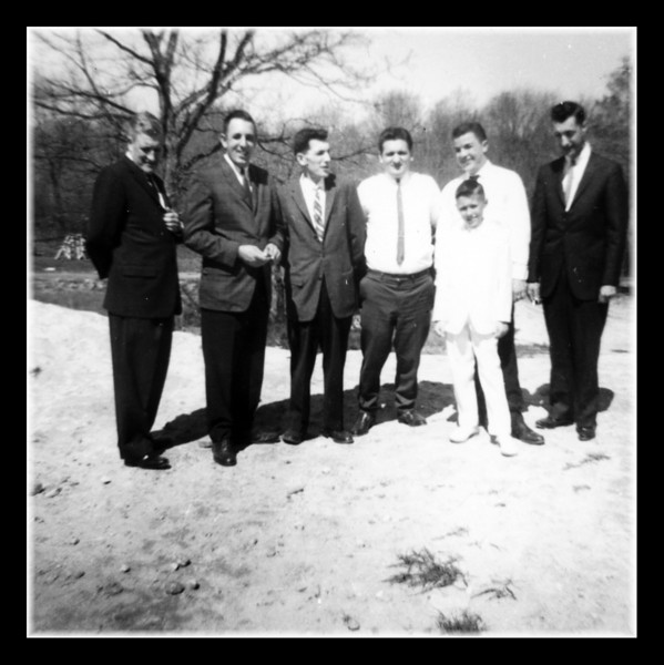 """Eat Your Heart Out Soprano's""<br /> What a group! Wilfred, Clifford, Robert & Wilfred Hall, Jr., Roger Martineau & Raymond Asselin with Kevin Hall after his first communion at Uncle Cliff's house."