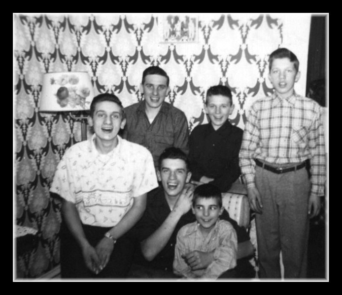 """""""The Hall Boys""""<br /> Back (l-r); Wilfred (JR), Donald, Richard (Nick) & Gerry Hall<br /> Front (l-r); Lucien & Roger (Butch) Hall."""