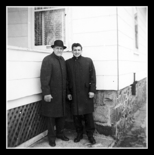 """""""Senior & Junior""""<br /> The two Wilfred's posing outside our old house on Riverby St. in Lowell, MA."""
