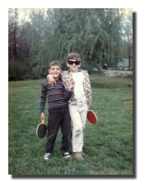 """""""Lawn Ping Pong?""""<br /> Mark & Michael Hall at Memere Hall's house."""