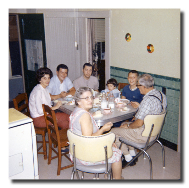 Clockwise from left, Patricia (Hall) & Roger Martineau, Raymond Asselin, Susan Martineau, Kevin, Wilfred & Rose (Couture) Hall, 1965.