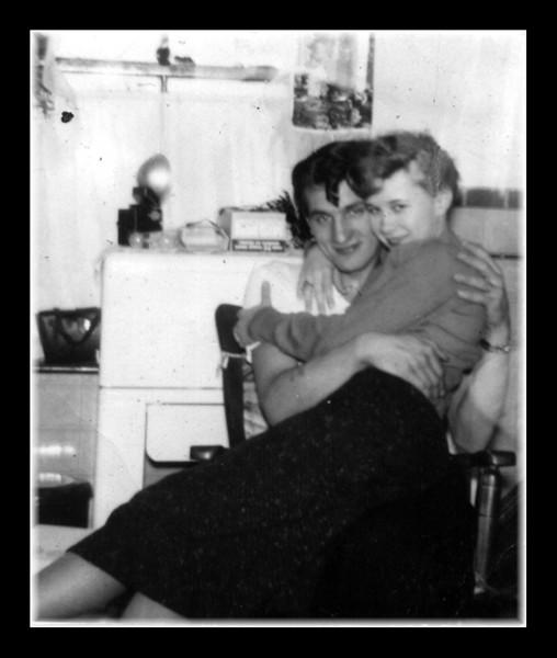 """Nice Curl!""<br /> Wilfred (Jr) Hall & Arlene Gagan in Memere Hall's kitchen."