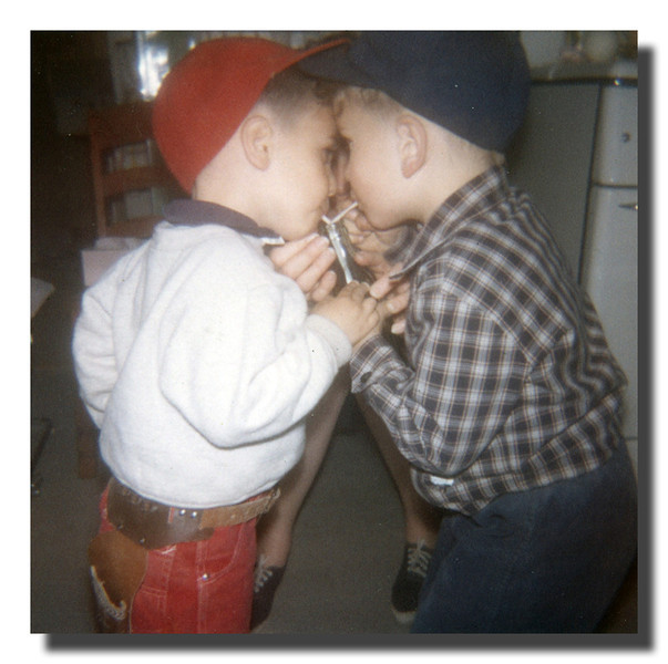 """Best Buds""<br /> Mark & Michael Hall were always together at the family gatherings. Here we share a soda at Memere Hall's house, Easter Sunday, 1963."