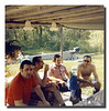 """Another scene of a Hall cookout on Sicard Ave., Dracut, MA.<br /> (l-r); Wilfred Hall, Jr., Raymond Asselin, Roger """"Butch"""" & Clifford """"Pete"""" Hall."""