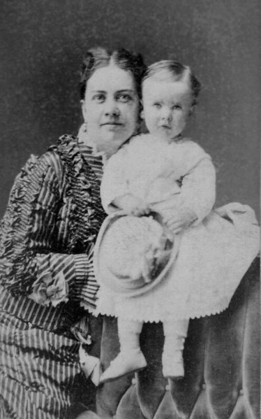 "Captioned ""Aunty Gale & Charlie"". Eliza Chidgey Gale and her 2-year-old son Charles Carroll Gale, II, probably in early 1875."