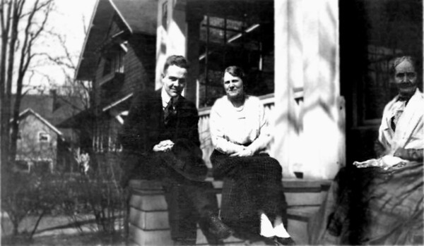 Dana Emmons Hill, Hilda Herbrook. Dana's grandmother Mary Chidgey Mathivet. Taken in Clifton Park, Ohio. Photo before 1917.  Hilda Herbrook's sister Nell was the wife of Dana's uncle Louis Hill.