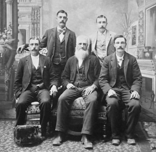 "Sons of Joseph A. Houff  circa 1890    Left to right front row William Henry ""Bill"" Houff, Joseph Albright Houff, Alonzo Franklin Houff   Backrow left to right James Cyrus Houff and John Martin Luther Houff"