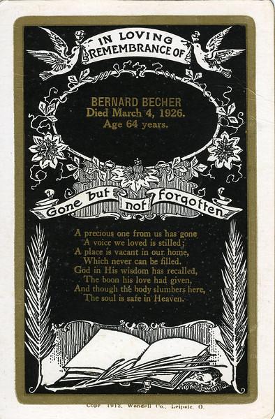Memorial Card for Bernard Becher