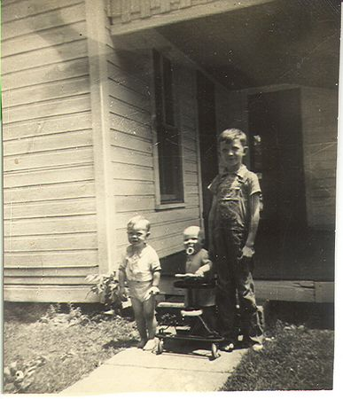 Left to Right, Terry Rukes, Monty Jones and Jack Jones.  Photographed in front of Blanche and Alvey Rukes home (last house far north end of Depot Street in Rosedale, Indiana.
