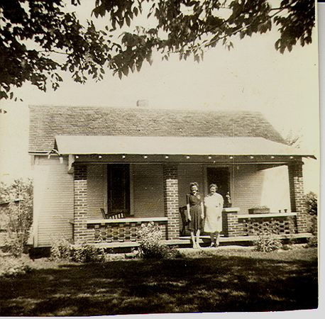 Marcella and my Great Grandma Jones.  In front of Clyde and Marcella's home on Spring Creek Road, norhern Vigo Co.