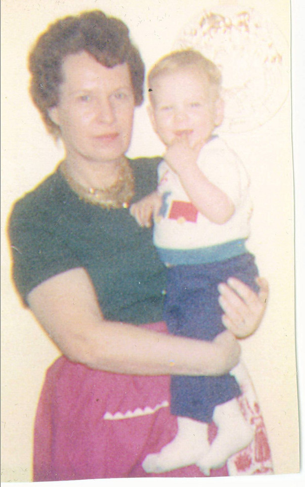 Winifred Jones with Marty Jones in hand.