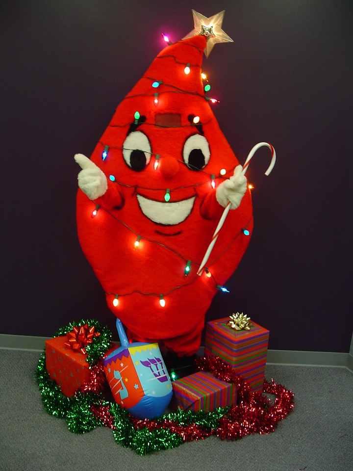 Barbara's Indiana Blood Center Mascot Outfit, Dec 2004.