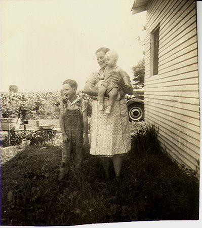 Jack Jones, my great grandma Rukes holding Monty Jones.  Photographed behinc Norman and Winifred's home on Spring Creek Road, northern Vigo County.