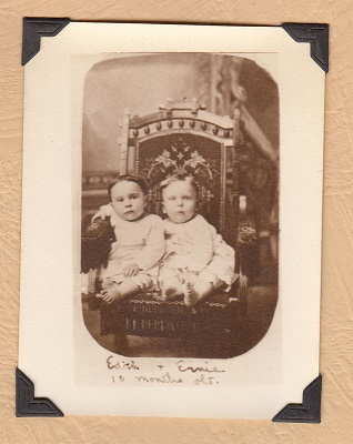 Edith and Ernest Keene, 10 months old, Wisconsin; from Maude Keene Gill's album.