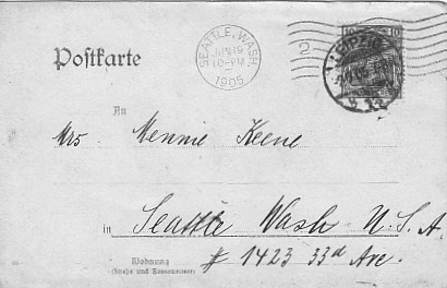 Postcard addressed to Minnie Keene from Arnold cousin in Leipzig, June 1905.