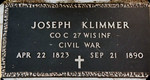 Civil War Cemetery Marker for Joseph Klimmer