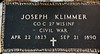 Civil War Cemetery Marker for Joseph Klimmer