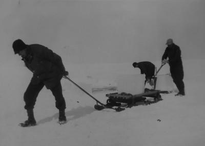 Hauling ice on Lake Superior