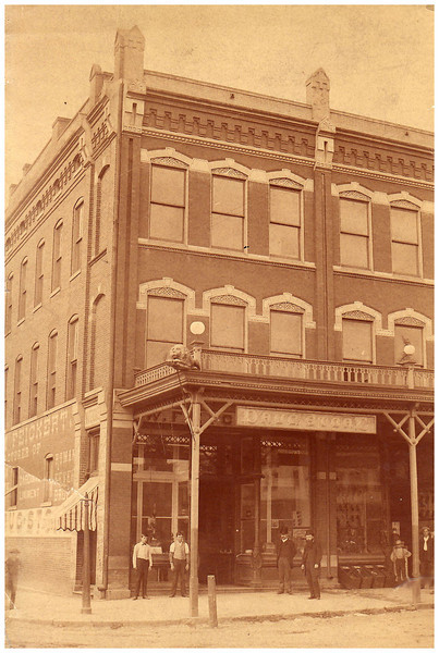 1888 Dr. Hugo Wangelin seen in stovepipe hat (without beard), in front of drugstore in Belleville, IL.