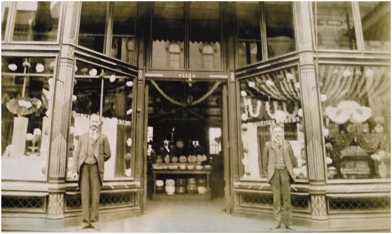 1899 The Crystal Palace at 113 Main Street in Belleville, IL. At this time it was owned by both Arthur E. Krebs (left) and John Rodenheiser (right). (When Janet Conant and I were there in 2013, this was a St. Louis Bread Company restaurant.)