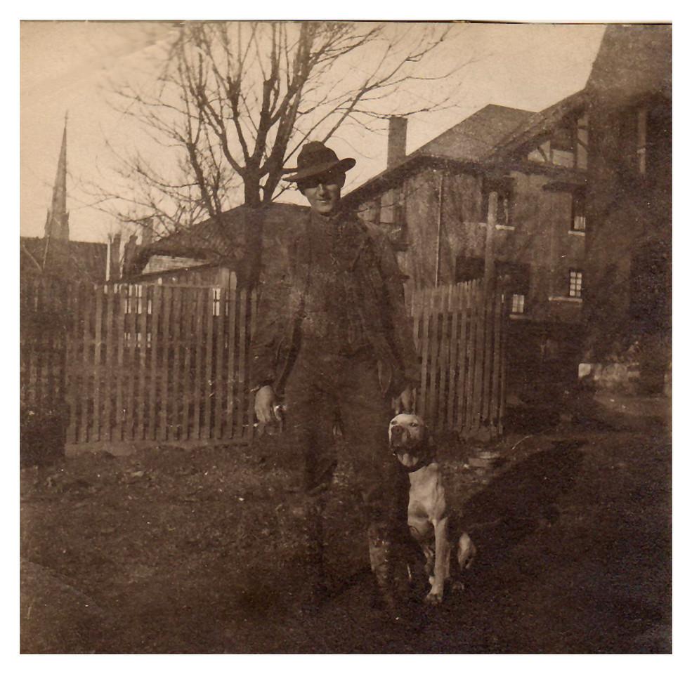 1915 Waldo Krebs and his favorite hunting dog, Jap