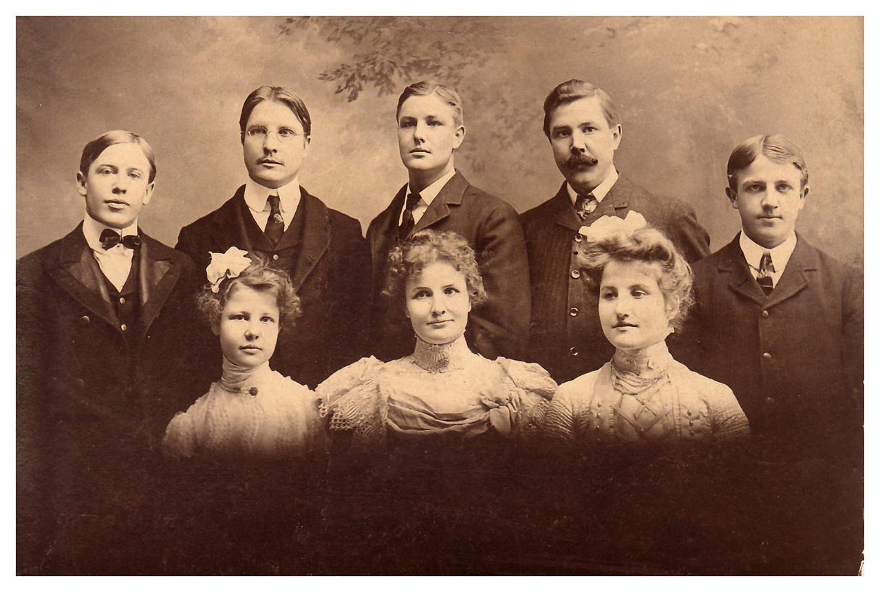 1895 The Hartmann Family, Belleville Back row, L to R: Hans, Ben, Herman, Hubert, Rolf First row, L to R: Louischen, Mamima (wearing her wedding dress), Anna
