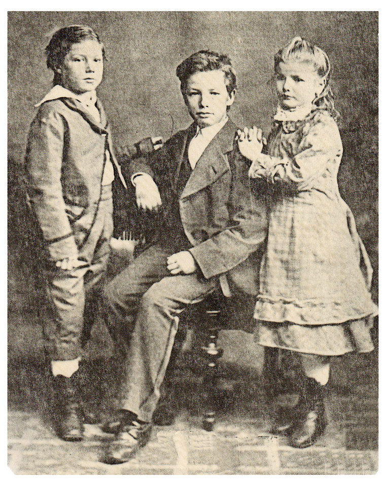 1878 Walter Conrad Schrimpf (Center} Birth date: 7 Mar 1864 Death date: 8 Oct 1900 Walter was Mamima's (right) half brother. Also shown is her brother Bernard Hubert (left).
