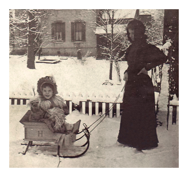 1898 Hedwig Wangelin, on her personalized sleigh, 416 North Church St., Belleville, IL.
