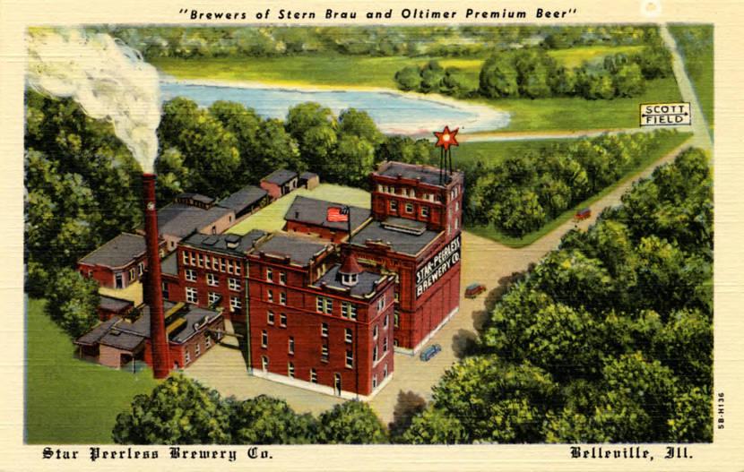 "1874 Postcard printed in 1945 showing an aerial view of Star Peerless Brewery Co., ""Brewers of Stern Brau and Oltimer Premium Beer."""