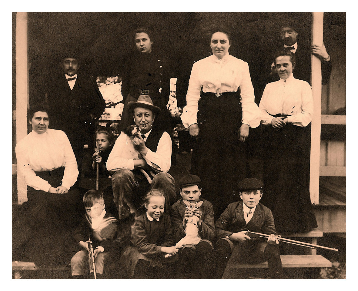 1900 (est.) Standing L-R: Arthur Ewald Krebs, Mary Amanda (Guentz) Krebs (Oma), Wanda (von Massow) Krebs, Emma (Stanley) Krebs (known also as Jenny), Charles Frederick (Karl) Krebs. Middle Row L-R: Emma (Rutz) Krebs, Virgina Krebs, Otto Adolph (Opa) Krebs. Seated L-R: Otto St. Clair Krebs, Doris Althalia Krebs, Wilbur (Wib) Edward Krebs, Waldo K. Krebs.