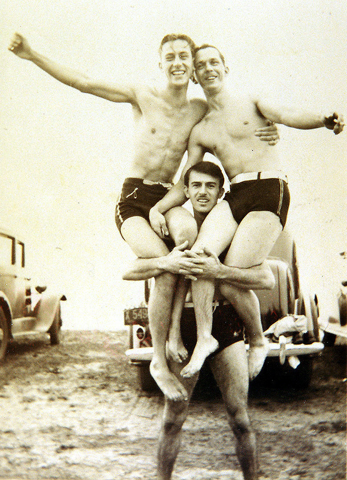 At the beach. Lake St. Claire. Guido 'Guy' Lombardi Sr (standing)., Modesto 'Marty' Lombardi, and Eddy Barton. 1937.
