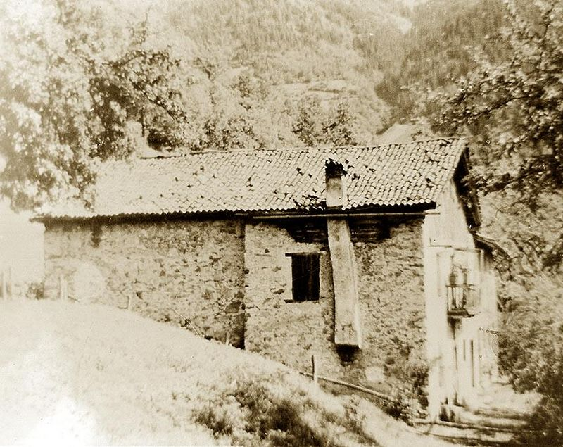 Lombardi Ancestral Home, Bagolino, Brescia, in Northern Italy. Known as 'The House with the Crooked Chimney'.