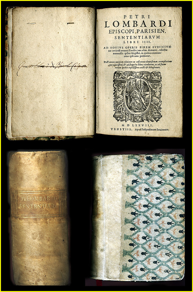 """PETRI LOMBARDI (PETER THE LOMBARD)<br /> <br /> Book printed in 1578. 'Sententiarum', by Petri Lombardi (Peter Lombard) 1100-1160. Venice. Books IIII (Four books in one volume). 528 pgs.<br /> <br /> PETER THE LOMBARD:<br /> <br /> """"Peter Lombard (c. 1100 – July 20, 1160 in Paris) was a scholastic theologian and bishop of the 12th century. <br /> <br /> Peter Lombard was born in Lumellogno, near Novara, Italy, to a poor family. His date of birth was likely between 1095 and 1100. Nothing is known for certain in regard to his origins, his social background, or his education as a youth. The first thirty years of Peter's life continue to be a blank in terms of history. Novara is a city of northwest Italy, to the west of Milan. ... <br /> <br /> His education most likely began in Italy at the cathedral schools of Novara and Lucca. The patronage of Otto, bishop of Lucca, and of St. Bernard allowed him to leave Italy and further his studies at Reims and Paris. Lombard arrived in Paris in 1136. There are no proven facts relating to his whereabouts in Paris until 1142 when he became recognized as writer and teacher. In Paris, he came into contact with Peter Abelard and Hugh of St. Victor, who were among the leading theologians of the time. Around 1145, Peter became a """"magister,"""" or professor, at the cathedral school of Notre Dame in Paris. Peter's means of earning a living before he began to derive income as a teacher and from his canon's prebend is shrouded in uncertainty. In medieval europe, cathedral schools were schools operated by cathedrals, typically having fewer than 100 students. ... Saint Bernard of Clairvaux (Fontaines, near Dijon, 1090 – August 21, 1153 in Clairvaux) was a French abbot and the primary builder of the reforming Cistercian monastic order. ... Reims (English traditionally Rheims) (pronounced in French) is a city of northern France, 144 km (89 miles) east-northeast of Paris. ... Part of the Paris skyline with from left to right: Montparnasse Tower, Ei"""