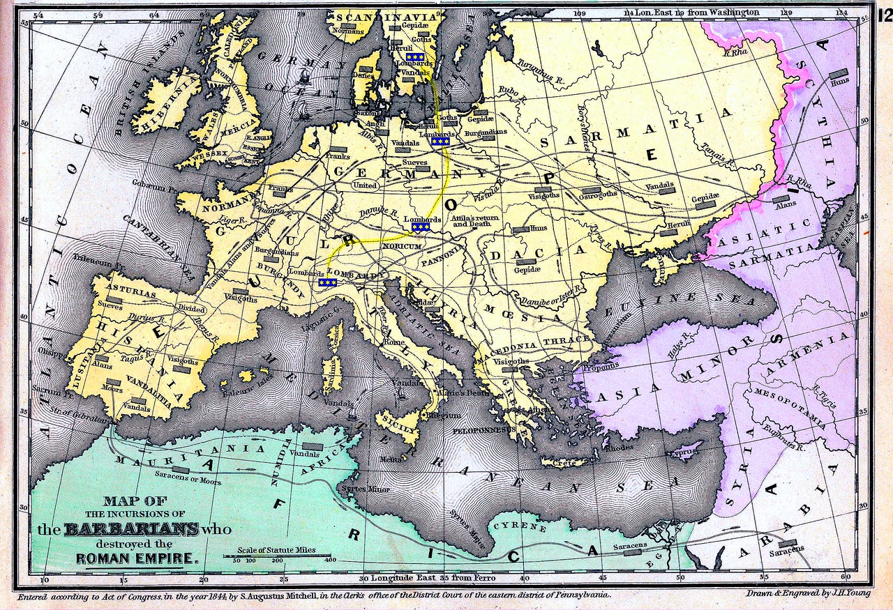 <b>'MAP OF THE INCURSIONS OF THE BARBARIANS WHO DESTROYED THE ROMAN EMPIRE'</b>. <i>Showing the route of the Lombards from Scandinavia, across the Baltic Sea, through Germany, then on to North Central Italy.</i> From Mitchell's Ancient Atlas. Published by E.H. Butler & Co., Philadelphia, Pa., 1844.