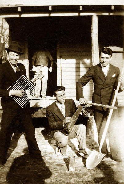 'The Lombardi Trio'. L-R, Burt, Marty, and Guy. ca. 1937. On the farm, Owasso.