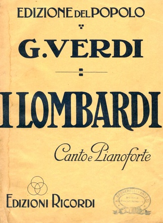 "OPERA: I LOMBARDI, by Giuseppe Verdi.<br /> <br /> ""I Lombardi alla prima crociata (The Lombards on the First Crusade) is an operatic dramma lirico in four acts by Giuseppe Verdi to an Italian libretto by Temistocle Solera, based on an epic poem by Tommaso Grossi. Its first performance was given at the Teatro alla Scala in Milan on 11 February 1843. Verdi dedicated the score to Maria Luigia, the Habsburg Duchess of Parma, who died a few weeks after the premiere.<br /> <br /> In 1847, the opera was significantly revised to become Verdi's first grand opera for performances in French at the Paris Opera under the title of Jérusalem.""  <br /> <br /> SOURCE: <a href=""http://en.wikipedia.org/wiki/I_Lombardi_alla_prima_crociata"">http://en.wikipedia.org/wiki/I_Lombardi_alla_prima_crociata</a>"
