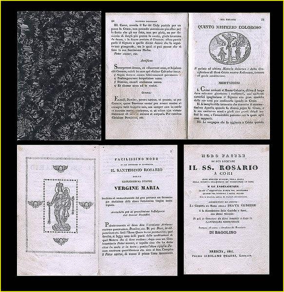 """Bagolino Church Prayer Book. Printed in Brescia, in 1857. <I>'Stampato ad istanza e divozione dei Rosarianti DI BAGOLINO.'</I>  Engravings by 'Fusi'. 4""""x 6"""", 80 pgs."""