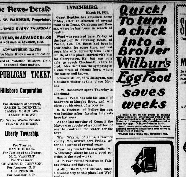 1901 - Newspaper - Chas laymon leaves for steel job in PA