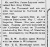 1912 - May 7 Mary Laymon dies