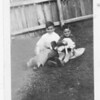 Hymie & Roy with dog and cat in Bruderheim  c.1934