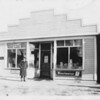 Abe Loomer in front of Bruderheim store
