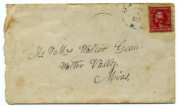 1913 letter envelope<br /> Address side